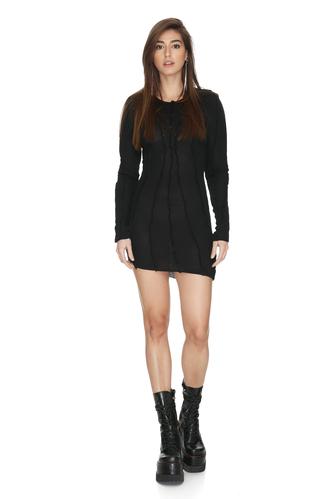 Black Cotton Mini Dress With Front Details - PNK Casual