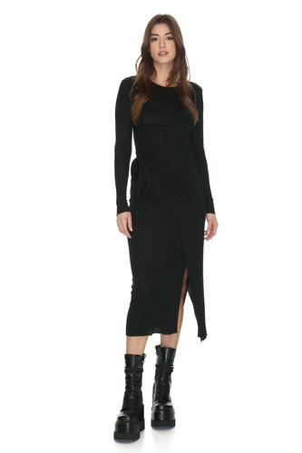Black Asymmetrical Cropped Midi Dress - PNK Casual