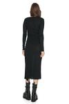 Black Asymmetrical Cropped Midi Dress