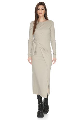 Grey-Green Asymmetrical Cropped Midi Dress - PNK Casual
