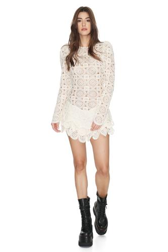 Off-White Crochet Mini Dress - PNK Casual