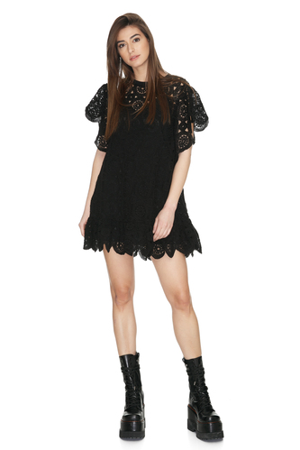 Black Crocheted Cotton Lace Oversized Dress - PNK Casual