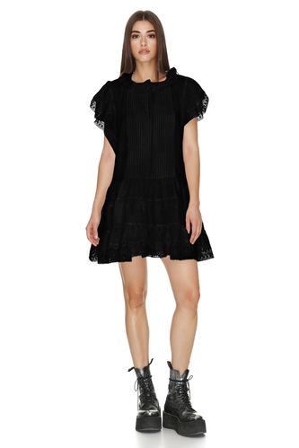 Black Linen Dress With Lace Hem - PNK Casual