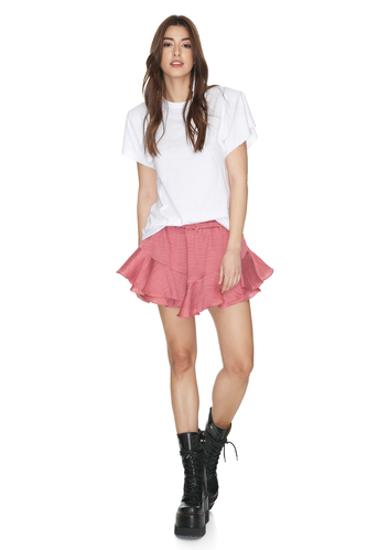 Dusty Pink Shorts With Elasticated Waistband - PNK Casual