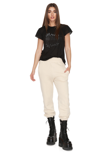 Track Hand-Distressed Beige Pants - PNK Casual