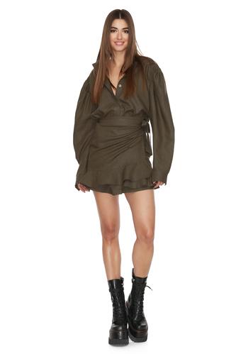 Army-Green Wrap Effect Mini Dress - PNK Casual