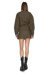 Army-Green Wrap Effect Mini Dress