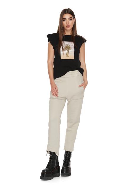 Grey-Green Cotton Track Pants