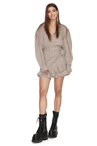 Beige Wrap Effect Mini Dress - PNK Casual