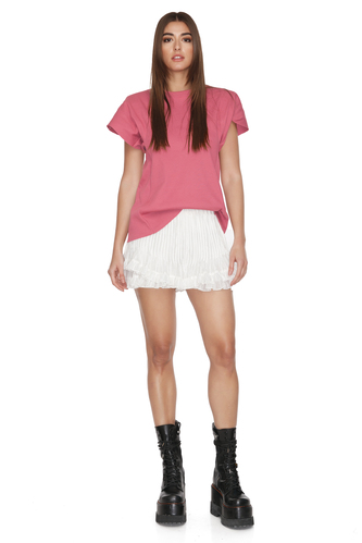 Dusty Pink Cotton Rib Top With Oversized Shoulders - PNK Casual