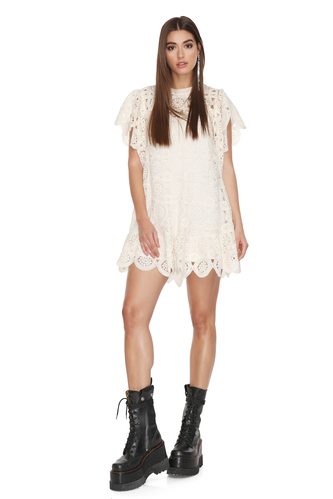 Off-White Crocheted Cotton Lace Oversized Dress - PNK Casual