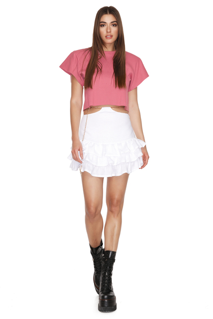 Dusty Pink Mini Top With Oversized Shoulders