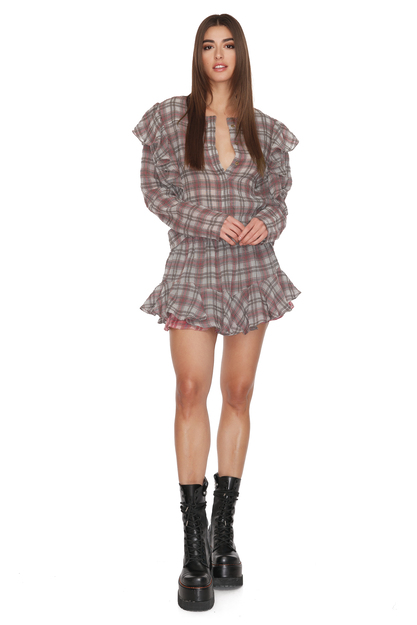 Checkered Linen-Cotton Shorts
