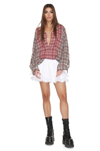Checkered Linen-Cotton Shirt - PNK Casual