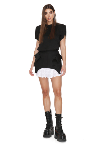 Black Wool Mini Corset Skirt with Detachable Lining - PNK Casual