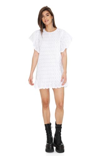 White Cotton Embroidered Mini Dress - PNK Casual