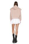 Beige Pink Long Sleeve Zipped Hoodie