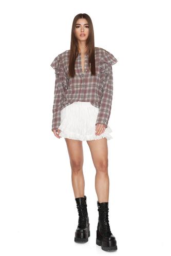 Checkered Linen-Cotton Ruffled Shoulders Shirt - PNK Casual