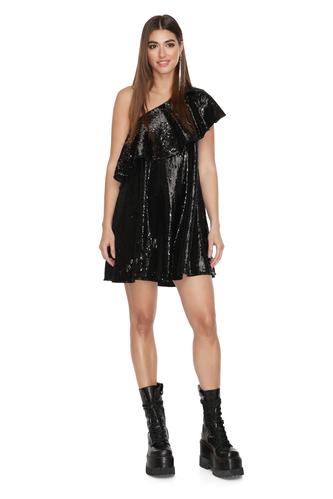 One Shoulder Black Sequin Mini Dress - PNK Casual