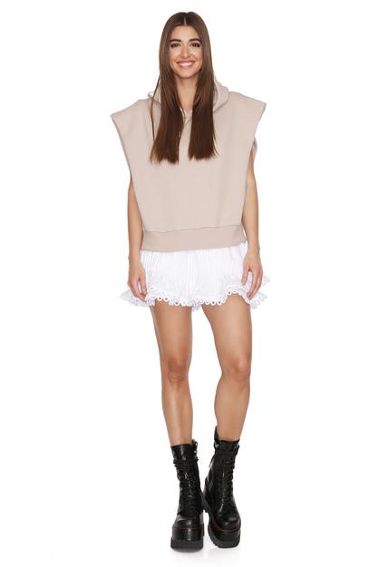 Oversized Beige Cotton Vest