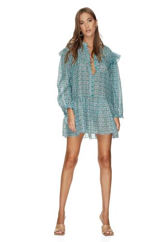 Silk-Cotton Ruffled Floral Print Dress - PNK Casual