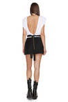 Backless Cotton Rib White Bodysuit With Chain Detail