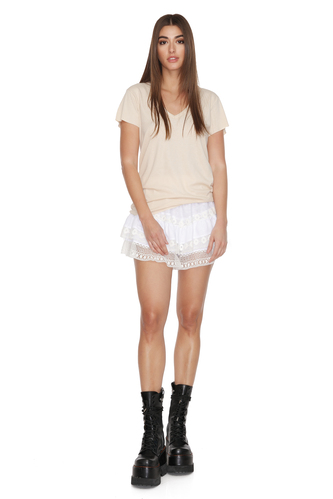 Beige Cotton T-shirt - PNK Casual
