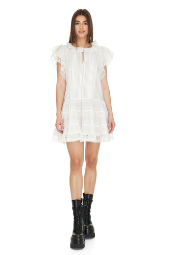 Off-White Cotton Mini Dress With Lace Hem - PNK Casual