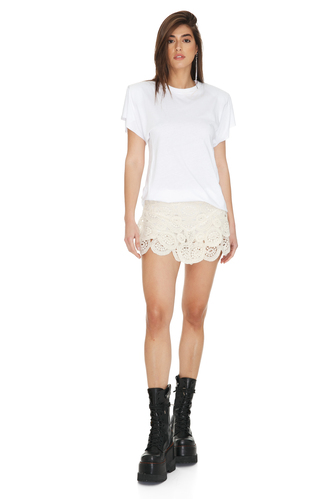 Off-white Crocheted Cotton Lace Shorts - PNK Casual