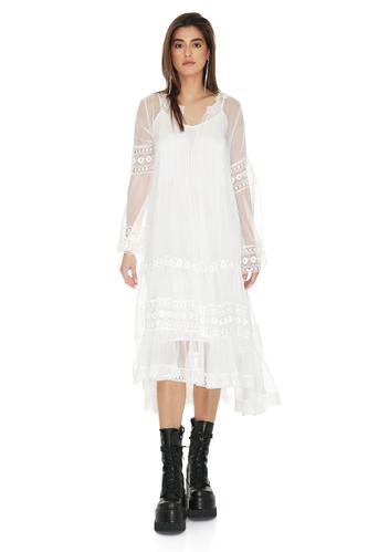 White Silk Chiffon Midi Dress - PNK Casual