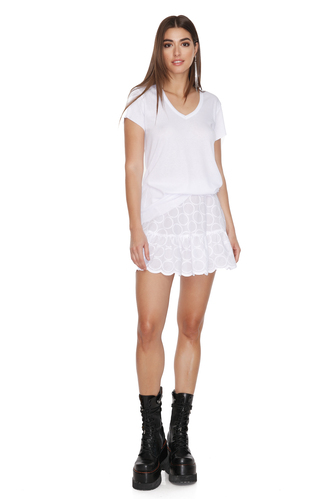 White Rib Cotton T-shirt - PNK Casual