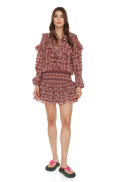 Linen-Cotton Checkered Mini Dress With Ruffles