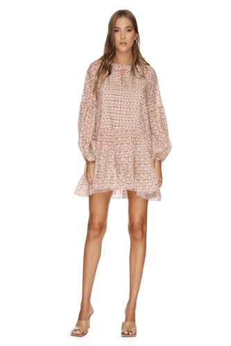 Silk-Cotton Coral Ruffled Print Dress - PNK Casual