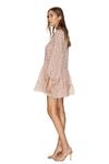 Silk-Cotton Coral Ruffled Print Dress