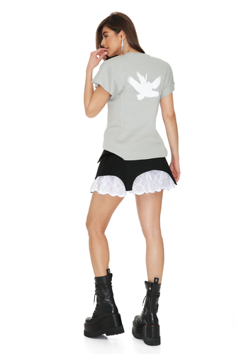 Grey Printed Cotton Rib Top - PNK Casual