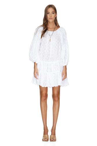 White Mini Boho Cotton Dress - PNK Casual