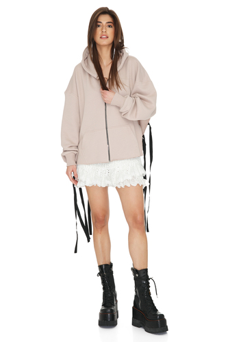 Beige Pink Cotton Cutout Hoodie - PNK Casual