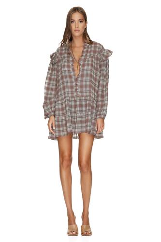 Linen-Cotton Checkered Mini Dress - PNK Casual