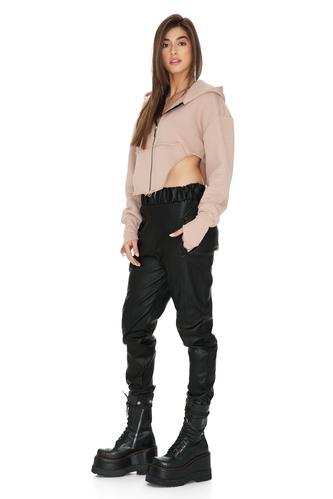 Beige Pink Cotton Cutout Short Hoodie - PNK Casual