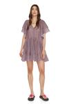 Relaxed Fit Mauve Silk Mini Dress
