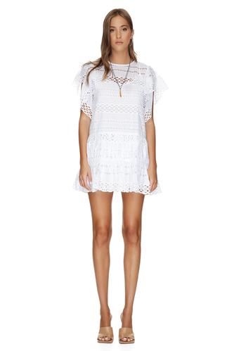 White Mini Cotton Embroidered Dress - PNK Casual