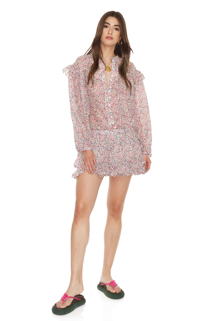 Silk-Cotton Floral Print Shorts With Crocheted Hem