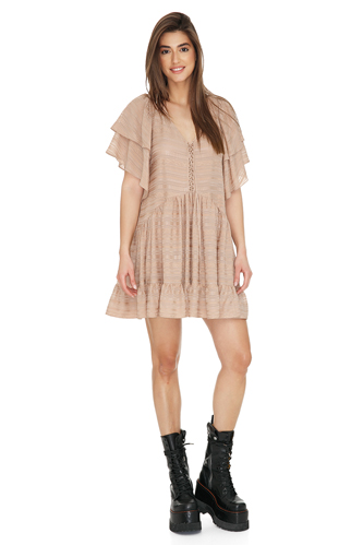 Relaxed Fit Beige Mini Dress - PNK Casual