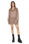 Brown Slk Mini Dress With Ruffles