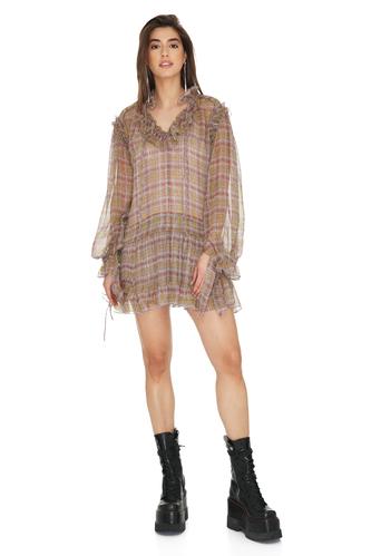 Brown Slk Mini Dress With Ruffles - PNK Casual