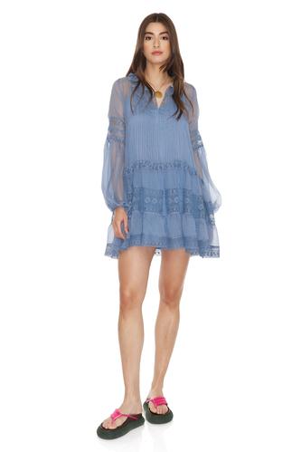 Blue Silk Chiffon Mini Dress - PNK Casual