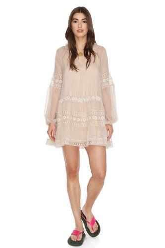 Beige-Pink Silk Chiffon Mini Dress With Lace Insertions - PNK Casual