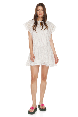 Off-White Dress With Cotton Lace Hem - PNK Casual