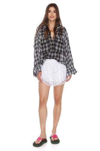 Grey Checkered Printed Distressed Shirt - PNK Casual