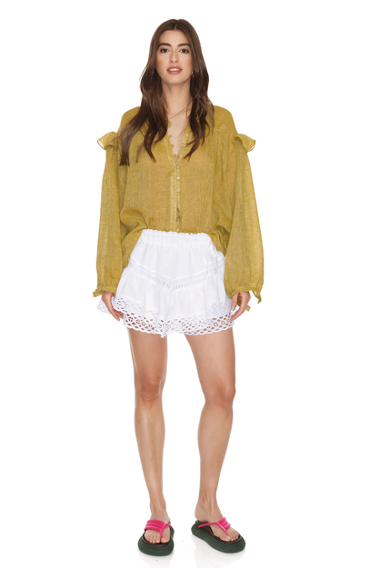White Linen Shorts With Cotton Embroidered Hem